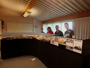 Photo: 007 On to the layouts! First up and in exactly the same place as he was in 2012, we find Tom Dauben with his developing piece of the Isle of Skye, Isle Ornsay. The layout has made much progress since NGS 2012 with some outstanding scenic effects emerging. Left to right in the photo are: Andy Hooper, Jon Reeves, Tom, Chris Matthews .