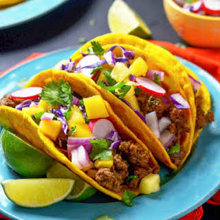 Jamaican Beef Tacos With Tropical Slaw.