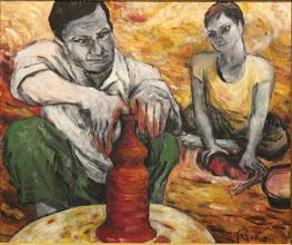 Photo: 田中 禮子  ■作品名 : 赤土で壺をつくる陶工