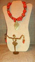 Photo: <BEREHYNYA> {Great Goddess Protectress} unique one-of-a-kind statement jewellery by Luba Bilash ART & ADORNMENT  # 129 ANCESTRAL PATHWAY ~ РОДОВИЙ ШЛЯХ - brass Eritrean cross, coral, brass, 14K gold vermeil $160/set SOLD/ПРОДАНИЙ