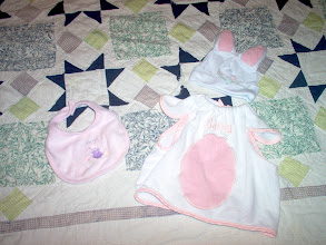 """Photo: L-R Gerber bib with Girl Teddy and say """"I Love You"""" $1.50ppd Bunny Bib/Costume with hat EUC $3.50ppd"""