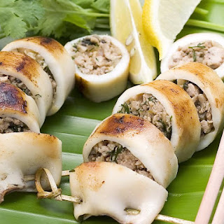 Squid Stuffed with Pork, Mushrooms and Dill