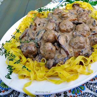 Italian Meatballs in Creamy Mushroom Sauce.