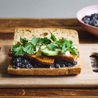 Black Bean, Cucumber and Sweet Potato Sandwich with Spicy Vegan Mayo.