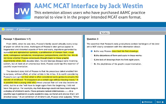 AAMC MCAT Interface by Jack Westin