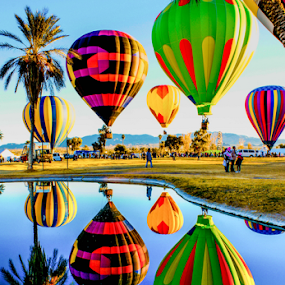 Hot Air Balloons Reflection In The Pond by Tina Hailey - Transportation Other ( hot air balloon, lake havaus az, tinas captured moments, colors, transportation, balloons,  )
