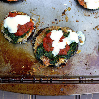 Eggplant Parmesan with Creamed Spinach.