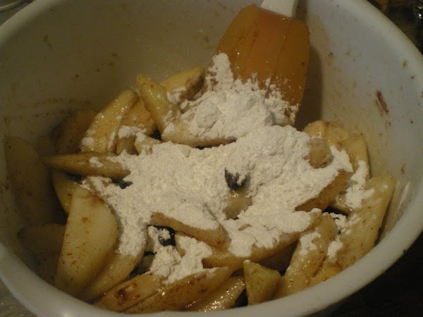 Stir with a spatula to distribute honey and spices.   Sprinkle with cornstarch and...