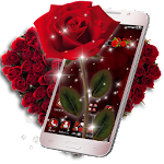 3D Love Red Rose Glitter Theme Icon