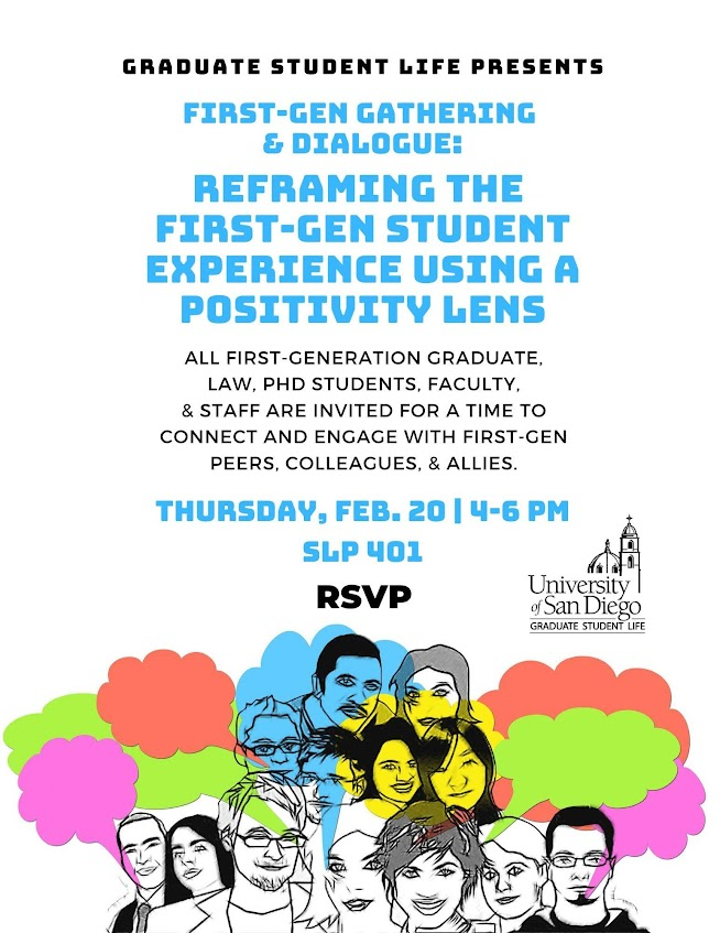 GLS First-Gen Gathering and dialogue. Thursday February 20. From 4:00 pm to 6:00pm