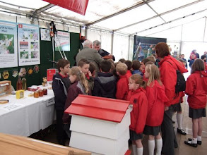 Photo: Joe Thompson and Ernie Watterson deeply involved in observation hive explanations with schoolchildren.