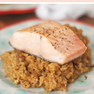 Mushroom Rice Pilaf with Seared Salmon (adapted from Whole Foods).