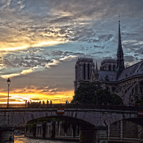 Evening Glow  by Tim Nagle - Buildings & Architecture Places of Worship ( reflection, notre dame, hdr, church, sunset )