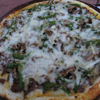 Philly Cheese Steak Pizza with Pretzel Crust