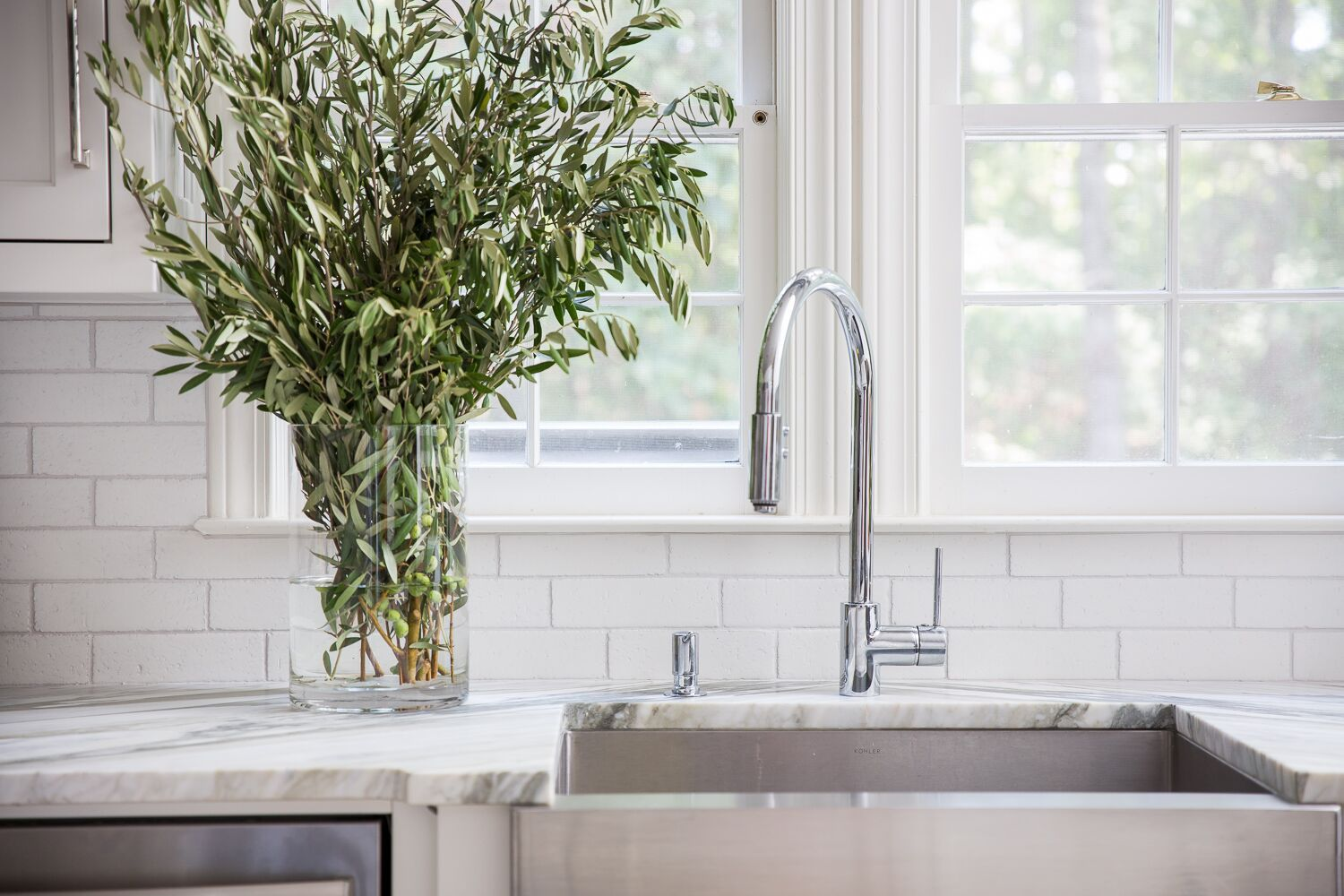 timeless classic kitchen tara fust design rohl faucet ann sacks subway tile greenery atlanta
