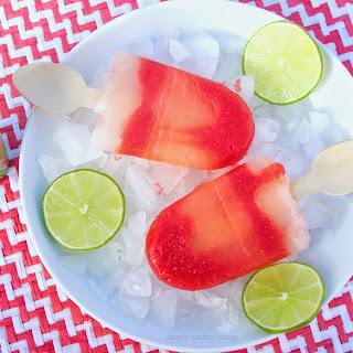 Strawberry Lime Aide Margarita Swirl Popsicles #NationalMargaritaDay Recipe
