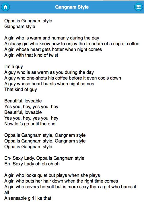 Psy Song Lyrics Psy Lyrics Android Apps On Google Play