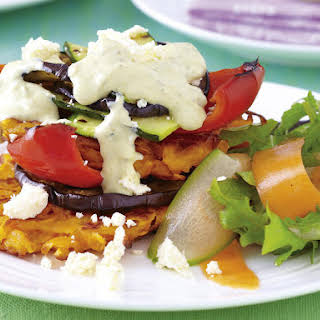 Mediterranean Vegetable Stack with Sweet Potato Rösti.