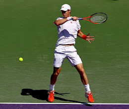 Photo: KEY BISCAYNE, FL - MARCH 23:  Andy Murray of Great Britain returns a shot to Alejandro Falla of Columbia during day five of the Sony Ericsson Open at the Crandon Park Tennis Center on March 23, 2012 in Key Biscayne, Florida.  (Photo by Matthew Stockman/Getty Images)