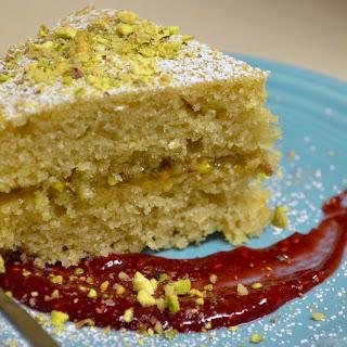 Vegan Lemon-Pistachio Olive Oil Cake with Raspberry-Lemon Coulis Recipe