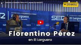 Florentino Pérez con Manu Carreño en El Larguero.
