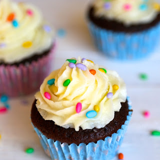 Classic Chocolate Cupcakes with Vanilla Frosting.