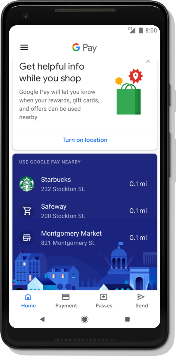 'Google Pay App Sample Interface 3: Google Pay Walgreens Add your Balance Rewards card Member #: 12345678 Instantly add the card from your last purchase'