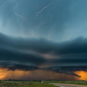 Springtime in the Sandhills by Matt Hollamon - Landscapes Cloud Formations ( lightning, supercell, wallcloud, nebraska, thunderstorm,  )