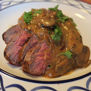 Beef Tenderloin Tips with a Bourbon Mushroom Sauce