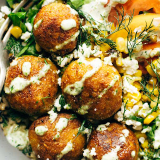 Summer Bliss Bowls with Sweet Potato Falafel and Jalapeño Ranch