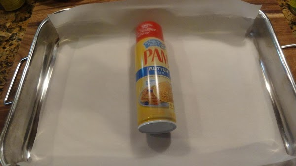 Use a 9X16 pan with a parchment sleeve.  Spray sides and bottom with...