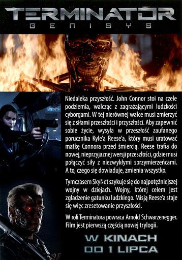 Tył ulotki filmu 'Terminator: Genisys'