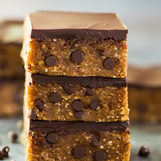 Vegan Cookie Dough Bars with Chocolate Chips and Peanut Butter.