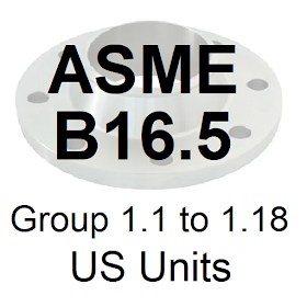 ASME B16.5 Group 1.1 to 1.18 US Units