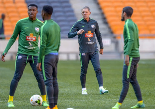 Coach Stuart Baxter of Bafana Bafana and his players during the South African national men's soccer team training session at FNB Stadium on June 05, 2017 in Johannesburg, South Africa.