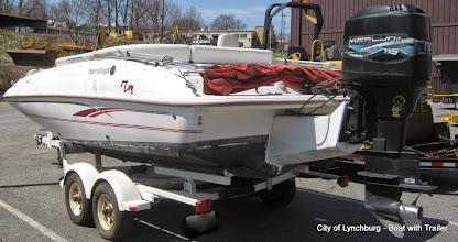 Photo: Lot 50 - (2/2) - 1999 Harris Kayot Boat with 115 HP Mercury Motor including 1985 Galaxy Trailer