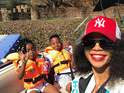 Kelly Khumalo and her kids, Thingo and Christian.