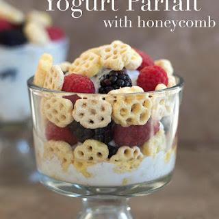 Yogurt Parfait With Honeycomb Cereal.