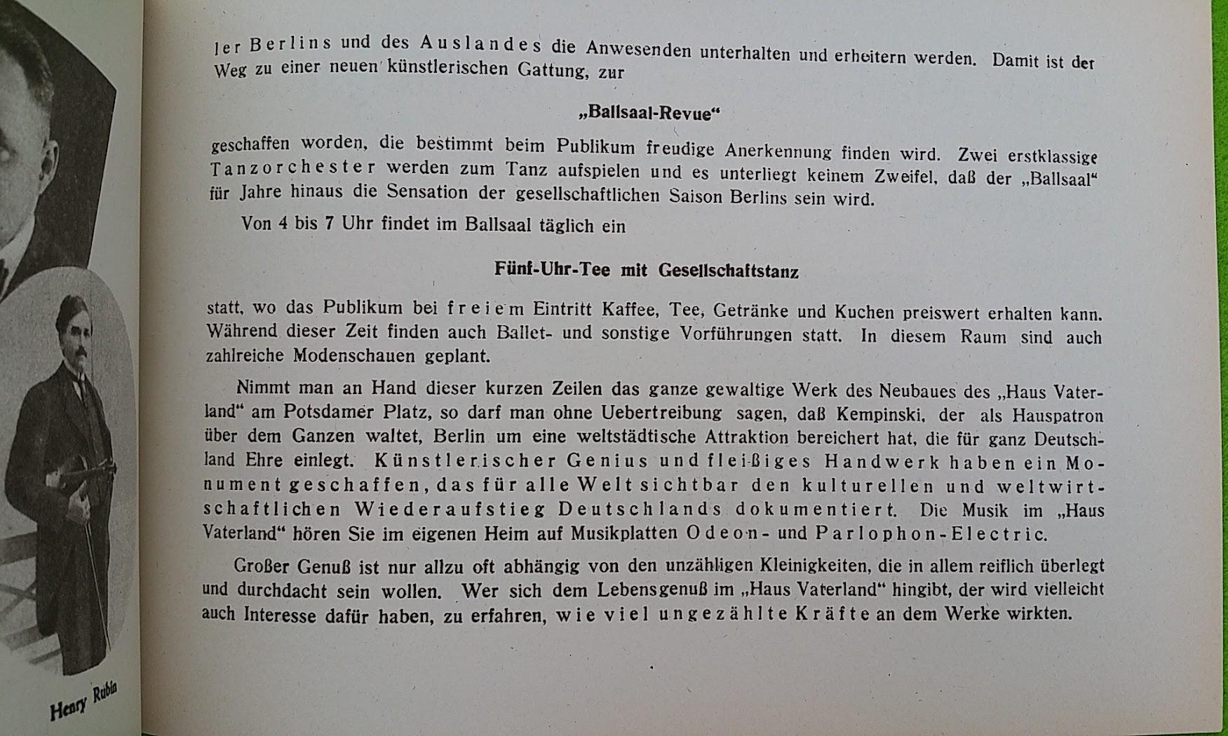 Begleitheft zur Eröffnung von Haus Vaterland am Potsdamer Platz, Berlin, 31. August 1928 - Ballsaal-Revue, Fünf-Uhr-Tee mit Gesellschaftstanz