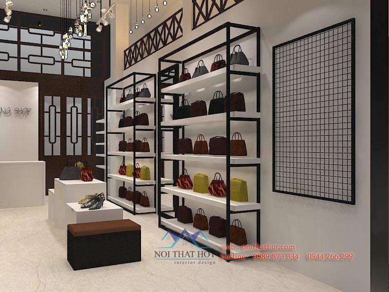 thiết kế cửa hàng túi xách, giày dép đẹp