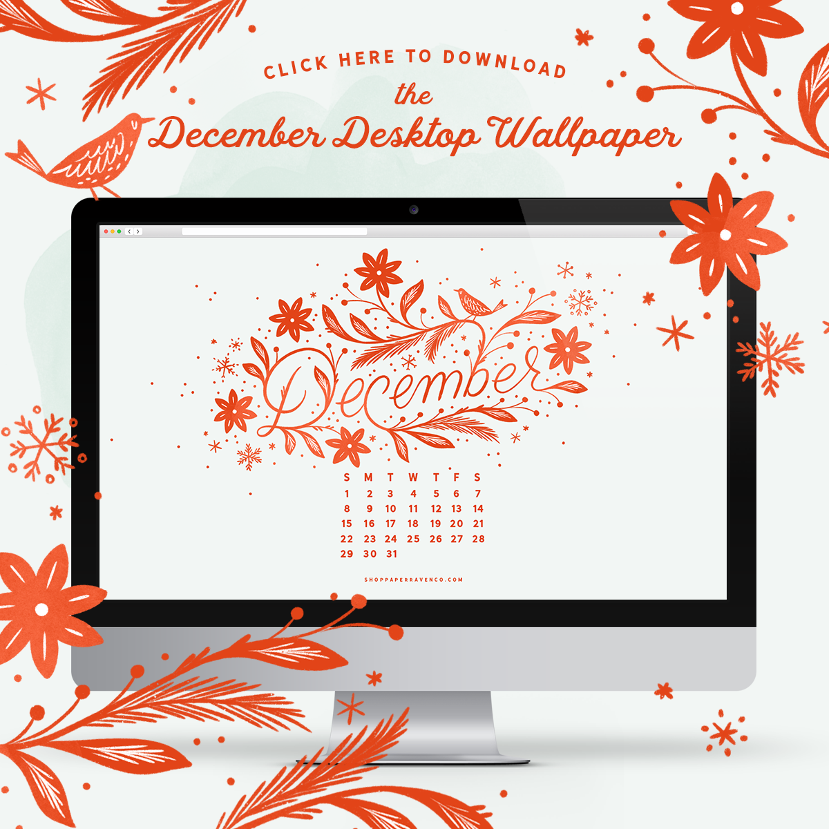 December 2019 Desktop Wallpaper by Paper Raven Co. | www.ShopPaperRavenCo.com #dressyourtech #desktopwallpaper