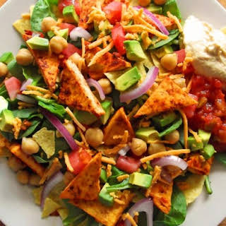 Taco Salad with Salsa Baked Tofu.
