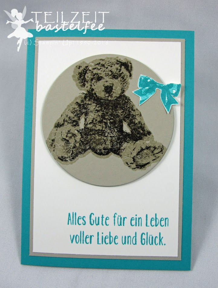 Stampin' Up! – In{k}spire_me #264, Color Challenge, birth, boy or girl, Geburt, Bär, Unentbärliche Grüße, Baby Bear