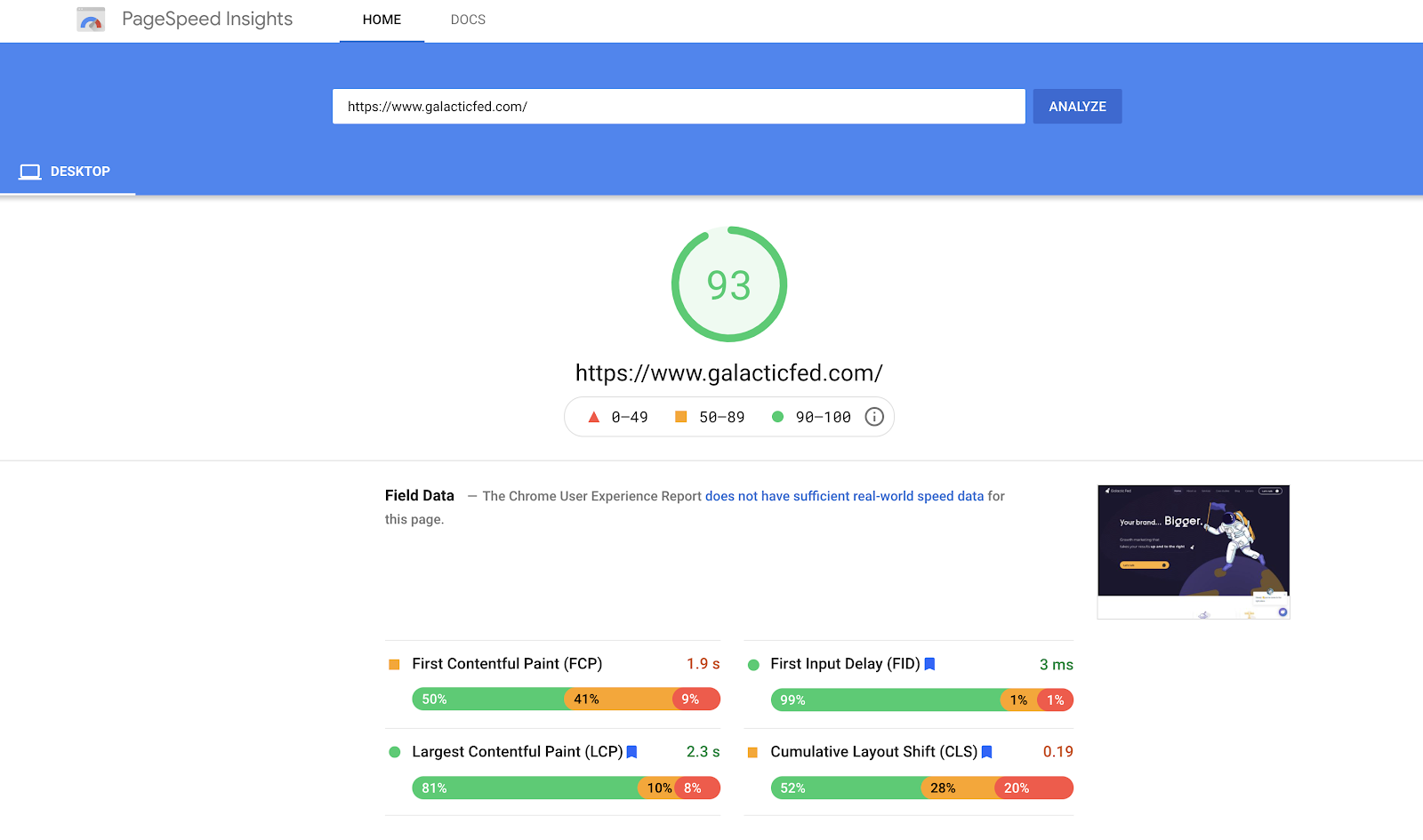 Galactic Fed Page Insights 93% score for desktop speed.