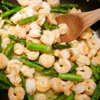 Sautéed Shrimp With Asparagus.