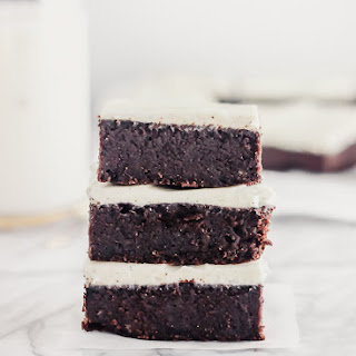 Fudgy Guinness Brownies with Vanilla Bean Cream Cheese Frosting.
