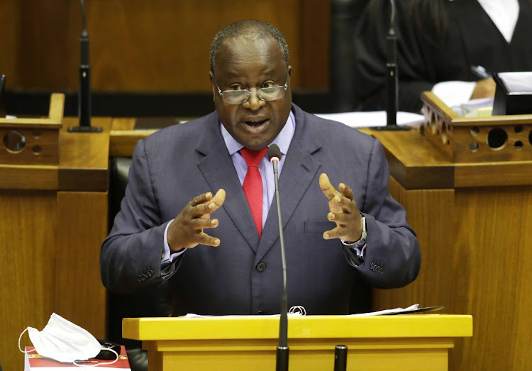 Minister of Finance Tito Mboweni delivers his 2021 budget speech in parliament in Cape Town on February 24, 2021