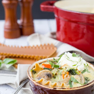 Vegetarian Lasagna Soup with Whole Wheat Noodles
