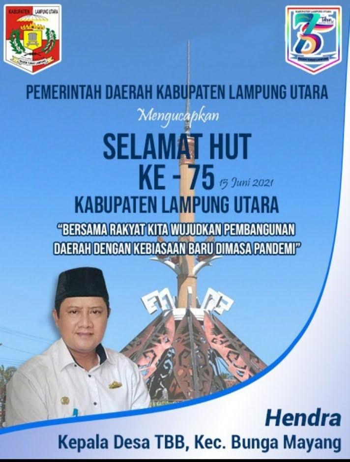 Kepala Desa TBB Mengucapkan Selama HUT Kabupaten Lampung Utara ke 75