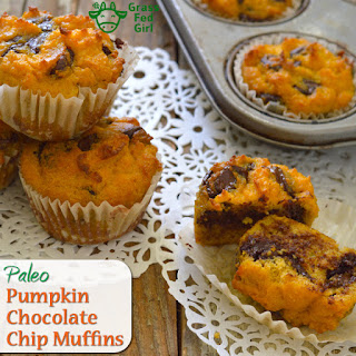 Paleo Pumpkin Bread Muffins with Chocolate Chips